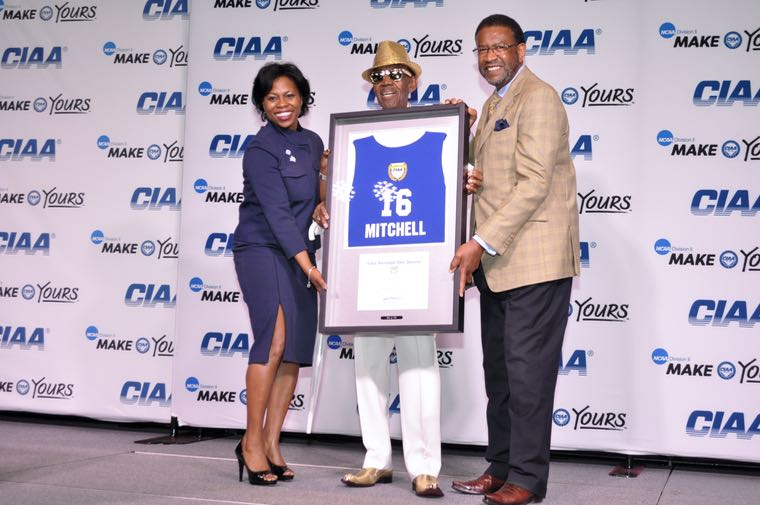"""From left to right: CIAA Commissioner Jacqie McWilliams, Abraham """"Mr. CIAA"""" Mitchell, and Johnson C. Smith University President Ronald Carter. (Photo: Qcitymetro.com)"""