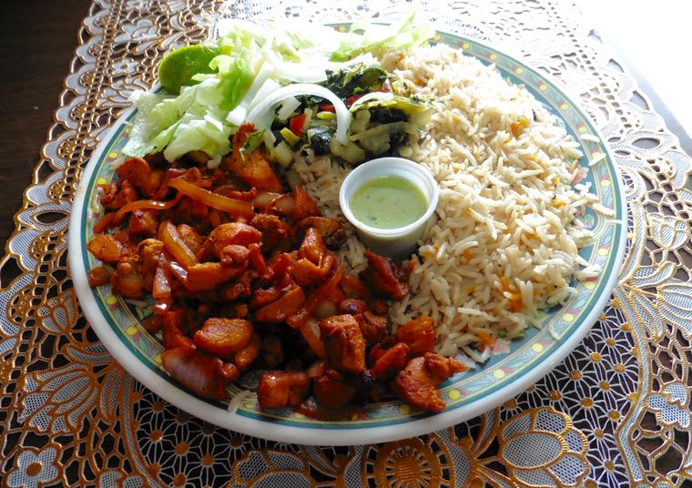 Jamile's International Cuisine features the Somali favorite called chicken suqar.