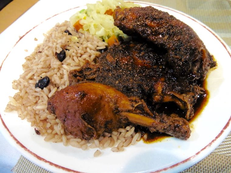 Jerk chicken with rice and beans plus cabbage at Mama's Caribbean.
