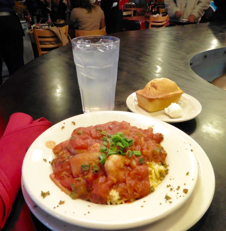 Shrimp creole with a side of cornbread at Mert's Heart & Soul.
