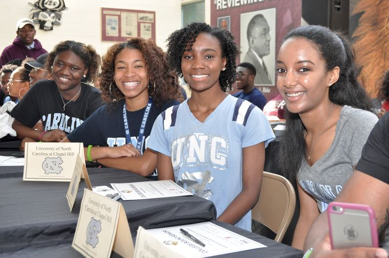 Heading to UNC Chapel Hill are, from left to right: Carla Beachem, Mialique Daniel, Chryshel Mundy and Feven Tsegai.