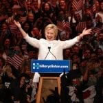 Clinton declares historic victory, turns fire on Trump in White House race