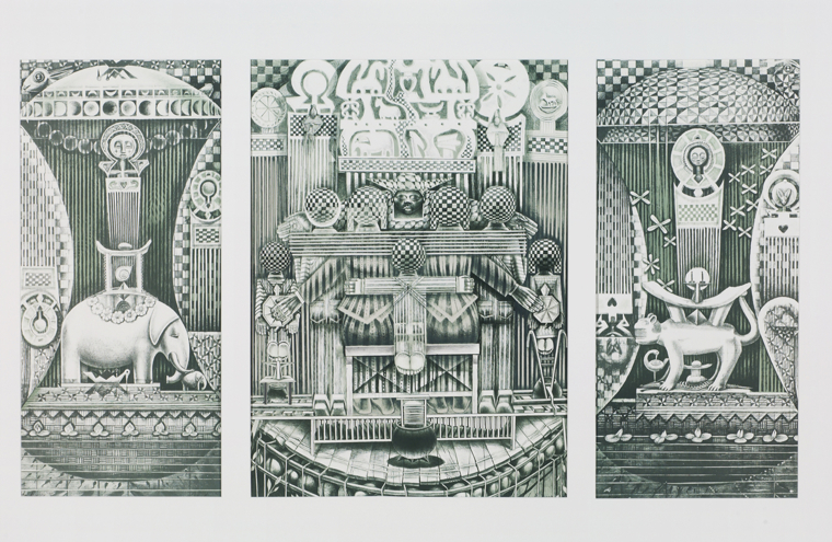 """This lithograph from John Biggers titled """"Family Arc"""" was created in 1992."""