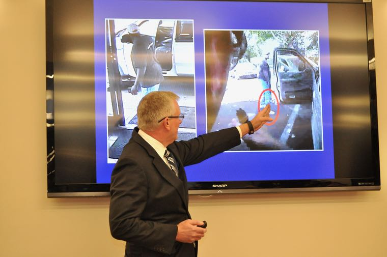 To refute claims that Keith Scott was unarmed when he was shot and killed by a CMPD officer, Mecklenburg District Attorney Andrew Murray showed an image, taken from police video, that purportedly shows a gun holster strapped to Scott's right ankle. Murray also showed images, taken by a convenience store video camera minutes before Scott was killed, that showed a large bulge underneath Scott's pants leg. (Photo: Qcitymetro.com)